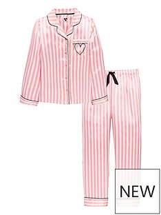 v-by-very-satin-candy-stripe-embroidered-heart-pyjama