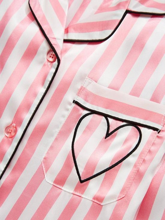 0266cfc01b0 V by Very Satin Candy Stripe Embroidered Heart Pyjama