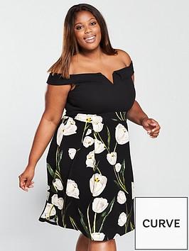 ax-paris-bardot-notch-front-printed-2-in-1-dress-black