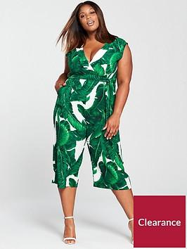 ax-paris-leaf-print-wide-leg-jumpsuit-green
