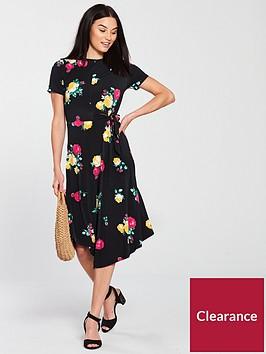 v-by-very-side-tie-waist-midi-dress-print