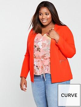 v-by-very-curve-zip-detail-blazer-orange