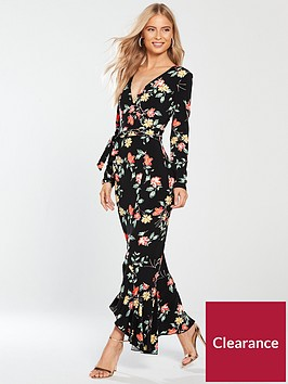 v-by-very-petite-wrap-jersey-maxi-dress-printed