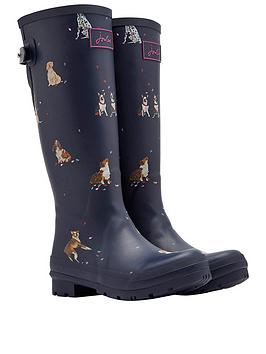 Joules Adjustable Back Gusset Welly - Navy Dog Print