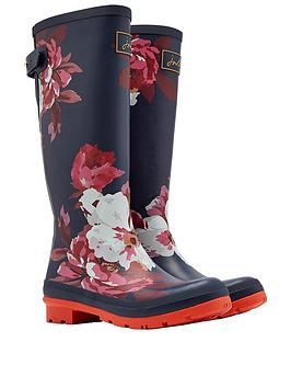 Joules Adjustable Back Gusset Welly - Navy Bloom Print