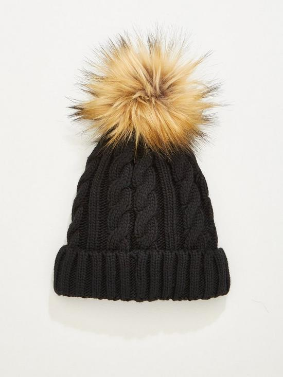 V by Very Rachael Cable Knit Pom Pom Beanie Hat - Black  f568fd08ea7