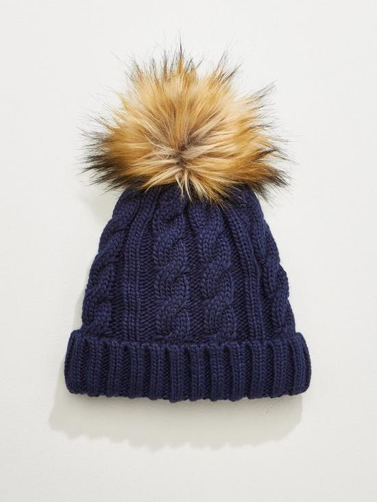 87c92faa6ec V by Very Rachael Cable Knit Pom Pom Beanie Hat - Navy