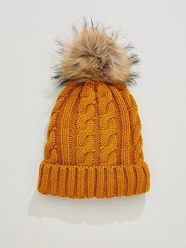 v-by-very-rachael-cable-knit-pom-pom-beanie-mustard