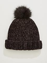 d9303b2153a591 V by Very Rebeka Chenille Pom Pom Beanie - Black