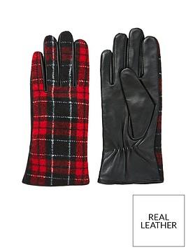 v-by-very-vanessa-leather-check-glove-black-red