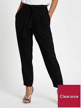 ri-petite-ri-petite-belt-detail-tapered-fit-trousers--black