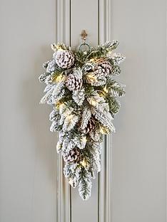 flocked-teardrop-shaped-lit-christmas-wreathhanger