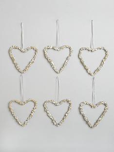 set-of-9nbspdiamante-heart-christmas-tree-decorations