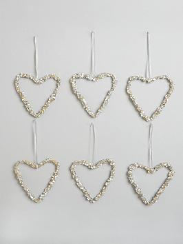 set-of-9nbspdiamante-heart-christmas-tree-decorations