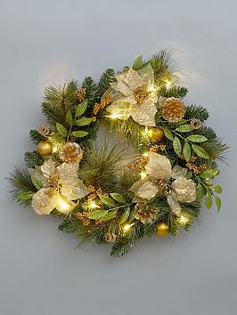 pre-lit-poinsetta-christmas-wreath-in-gold