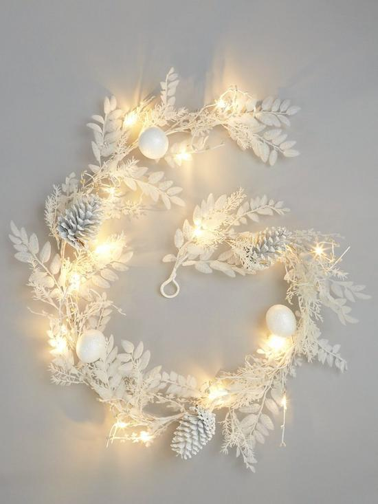 pre lit battery operated winter white garland christmas decoration verycouk