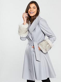 b22099ae30e76 ... Jackets Waistcoats for Women san francisco 8da9c 85744  Ted Baker Zurii  Faux Fur Cuff Skirted Coat - Grey 50% off 28547 e47b4 ...