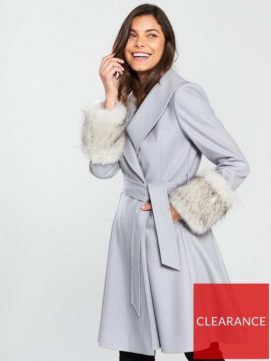 51f36723a75a10 Ted Baker Zurii Faux Fur Cuff Skirted Coat - Grey
