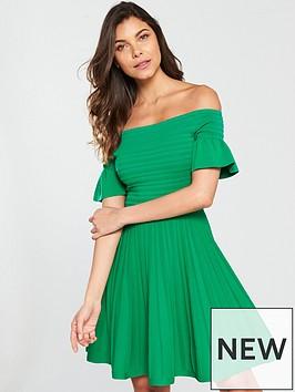 ted-baker-criptum-bardot-frill-knitted-skater-dress-bright-green