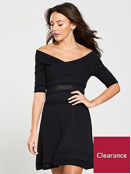 michelle-keegan-bardot-knitted-skater-dress-black