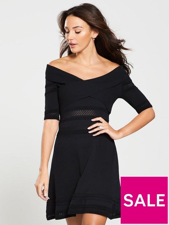 Michelle Keegan Bardot Knitted Skater Dress - Black  1e51b35d3