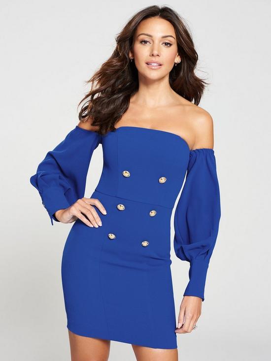 1f461f3d363 Michelle Keegan Bardot Tuxedo Dress - Cobalt
