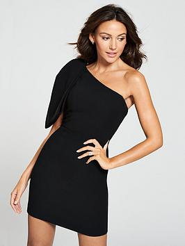 michelle-keegan-bow-one-shoulder-dress-black