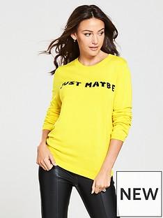 michelle-keegan-slogan-knitted-jumper-yellow