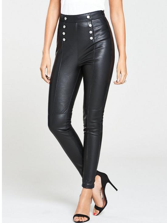 14ada84c8ee3 Michelle Keegan Super Skinny Fit Button Front PU Trousers - Black ...