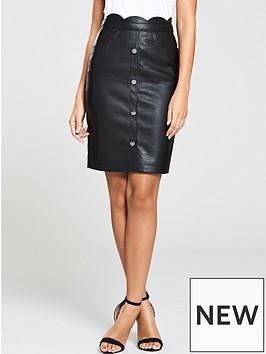 michelle-keegan-button-front-pu-skirt-black