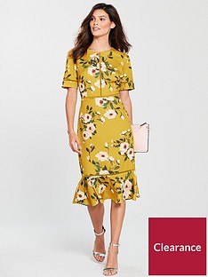 phase-eight-hilary-floral-dress-chartreuse