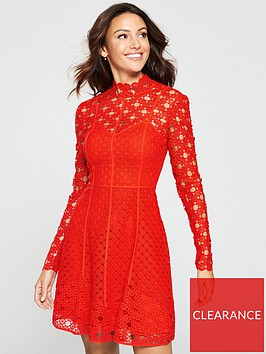 michelle-keegan-high-neck-lace-skater-dress-red