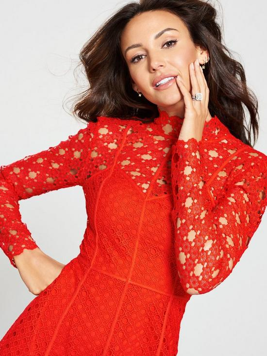a277afc456e ... Michelle Keegan High Neck Lace Skater Dress - Red. View larger