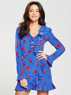 michelle-keegan-ruffle-wrap-tea-dress-floral