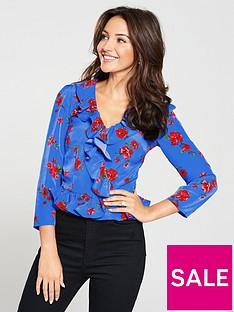 michelle-keegan-ruffle-wrap-blouse-print