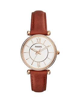 fossil-fossil-carlie-rose-gold-tone-brown-leather-strap-ladies-watch