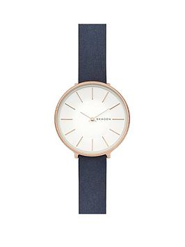 skagen-skagen-karolina-rose-gold-tone-case-with-blue-leather-strap-ladies-watch
