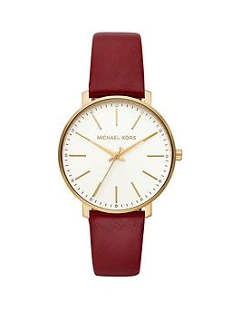 michael-kors-mrchwnbsppypernbspgold-tone-red-leather-strap-ladies-watch
