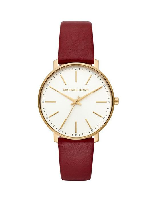 cbb618867aa74 MICHAEL KORS MRCHW Pyper Gold Tone Red Leather Strap Ladies Watch ...