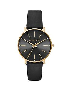 michael-kors-mrcjnnbsppypernbspgold-tone-black-leather-strap-ladies-watch