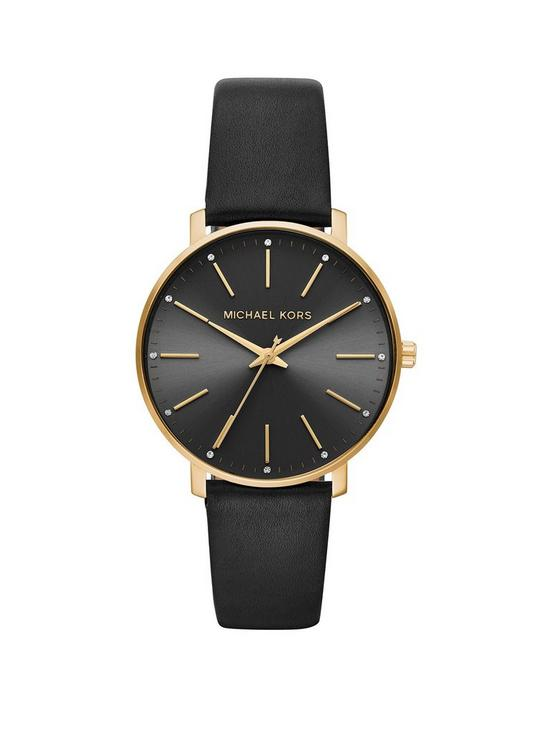 ef5f83c22110f MICHAEL KORS MRCJN Pyper Gold Tone Black Leather Strap Ladies Watch ...