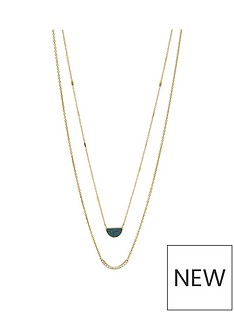 fossil-fossil-gold-tone-amp-teal-jade-stainless-steel-ladies-necklace