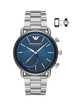 emporio-armani-blue-dial-stainless-steel-dress-bracelet-mens-hybrid-smartwatch