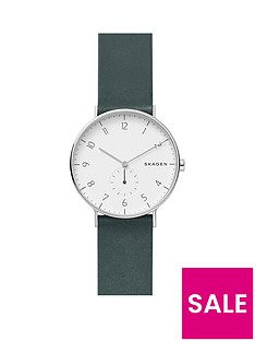 skagen-skagen-hagen-stainless-steel-green-leather-strap-mens-watch-with-matte-white-dial