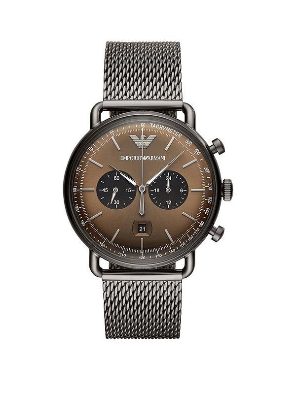 e69d8957d2d Emporio Armani Gunmetal Stainless Steel Dress Mesh Bracelet Mens Watch