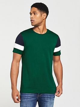 v-by-very-sleeve-block-t-shirt-pine-green