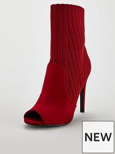 v-by-very-flick-peep-toe-high-heel-knitted-sock-boot-rednbsp
