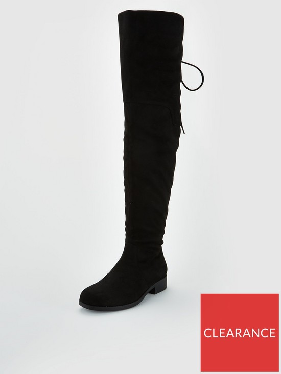 68697a0b350e V by Very Wide Fit Lacey Lace Back Flat Over The Knee Boot - Black ...