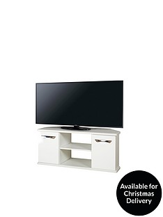 SWIFT Neptune Ready Assembled White High Gloss Corner TV Unit - fits up to 46 inch TV (10 Day Delivery Service)