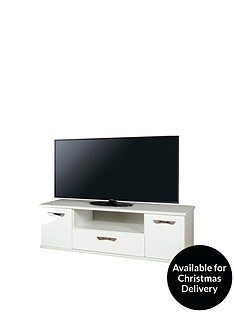 SWIFT Neptune Ready Assembled White High Gloss TV Unit - fits up to 65 inch TV (10 Day Delivery Service)